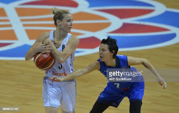 Giorgia Sottana of Italy fights for a ball with kim Mestdagh of Belgium during the FIBA EuroBasket women's quarterfinal match betwee Italy v Belgium...