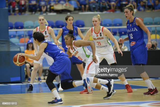 Giorgia Sottana of Italy in action against Alexandria Bentley of Belarus during the qualification match of 2017 FIBA EuroBasket Women between Italy...