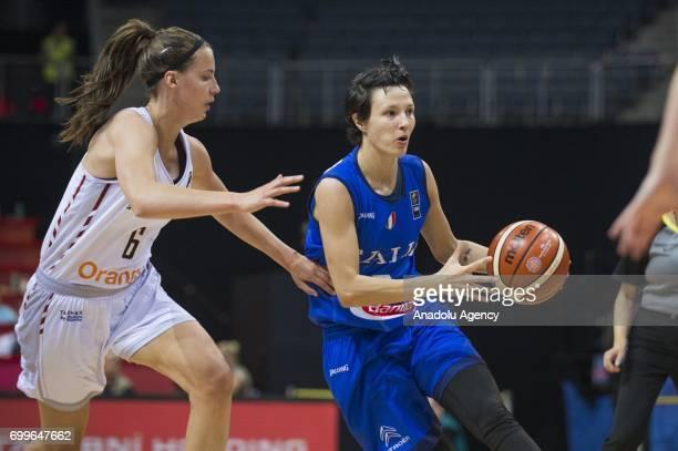Giorgia Sottana of Italy in action against Antonia Delaere of Belgium during the 2017 FIBA EuroBasket Women quarter finals between Belgium and Italy...