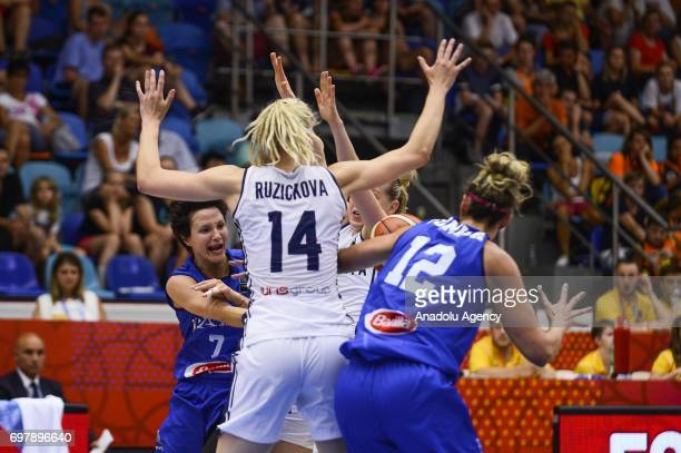 Giorgia Sottana of Italy in action against Marie Ruzickova of Slovakia during the 2017 FIBA EuroBasket Women qualifications match between Slovakia...