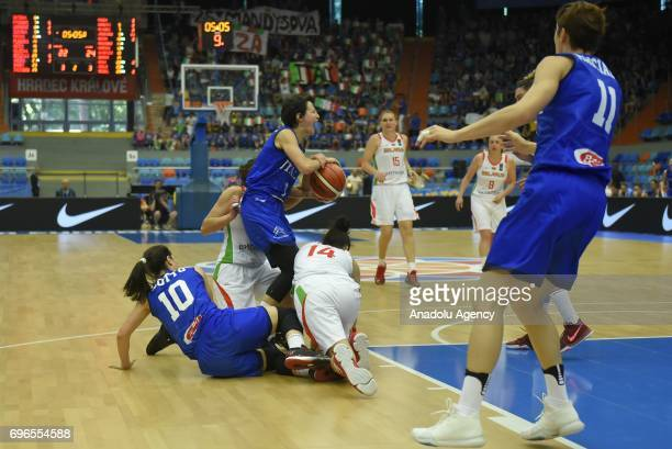 Giorgia Sottana of Italy in action against two of Belarus during the qualification match of 2017 FIBA EuroBasket Women between Italy and Belarus at...
