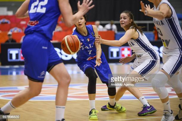 Giorgia Sottana of Italy in action during the 2017 FIBA EuroBasket Women qualifications match between Slovakia and Italy at Hradec Kralove Arena...
