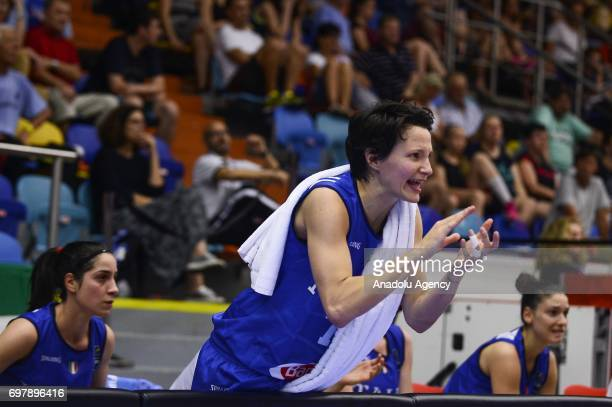 Giorgia Sottana of Italytalks to the team players during the 2017 FIBA EuroBasket Women qualifications match between Slovakia and Italy at Hradec...