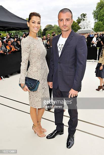 Giorgia Surina and Nicolas Vaporidis arrives at the Burberry Spring Summer 2013 Womenswear Show during London Fashion Week on September 17 2012 in...