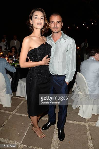 Giorgia Surina and Nicolas Vaporidis attends GruppoGreen Network and Taormina Filmfest Host Gala Dinner at Hotel La Plage Resort on June 22 2013 in...