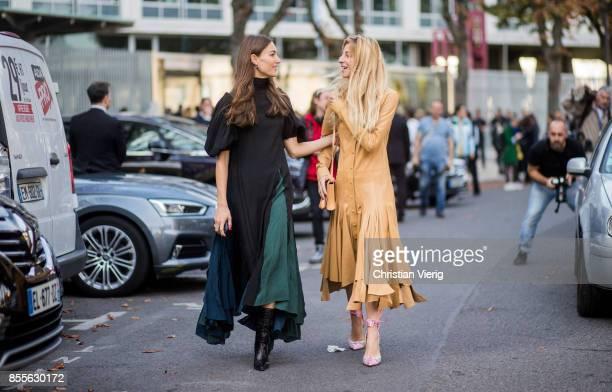 Giorgia Tordini and Ada Kokosar is seen outside Loewe during Paris Fashion Week Spring/Summer 2018 on September 29 2017 in Paris France