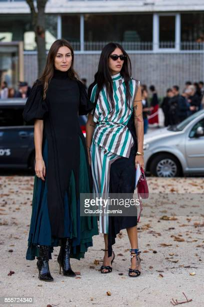 Giorgia Tordini and Gilda Ambrosio are seen before the Loewe show during Paris Fashion Week Womenswear SS18 on September 29 2017 in Paris France