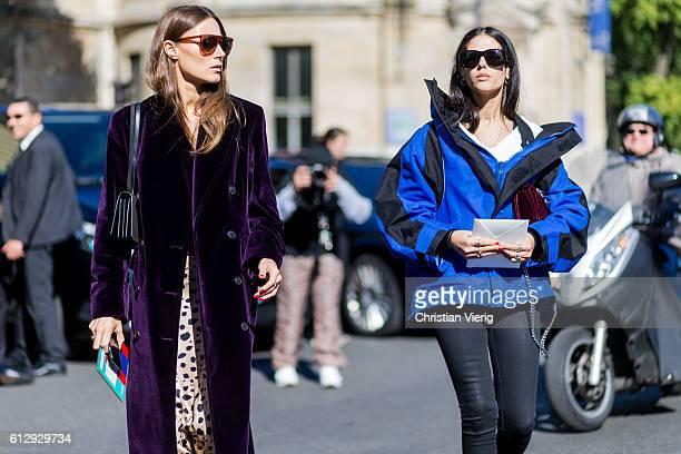 Giorgia Tordini and Gilda Ambrosio outside Miu Miu on October 5 2016 in Paris France