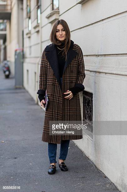 Giorgia Tordini outside Etro during Milan Men's Fashion Week Fall/Winter 2016/17 on January 18 in Milan Italy