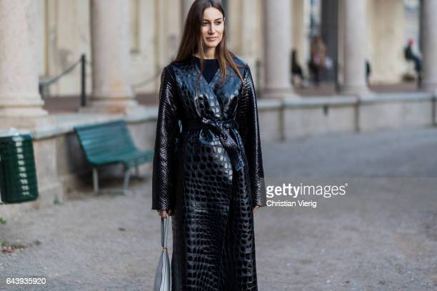 Giorgia Tordini wearing a black coat outside Alberta Ferretti on February 22 2017 in Milan Italy