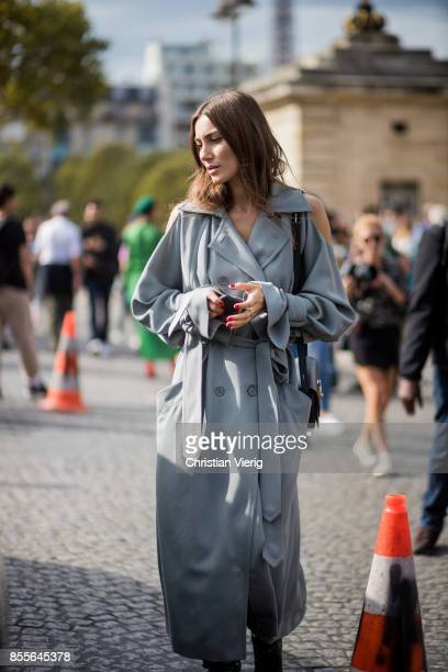 Giorgia Tordini wearing a grey coat is seen outside Nina Ricci during Paris Fashion Week Spring/Summer 2018 on September 29 2017 in Paris France