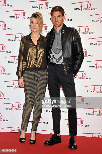 Giorgia Wurth and Alan Cappelli attend the red carpet for 'Amore pensaci tu' on December 10 2016 in Rome Italy