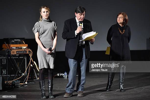 Giorgia Wurth Giorgio Gosetti and Marina fabbri attend day 5 of 24th Courmayeur Noir In Festival on December 13 2014 in Courmayeur Italy