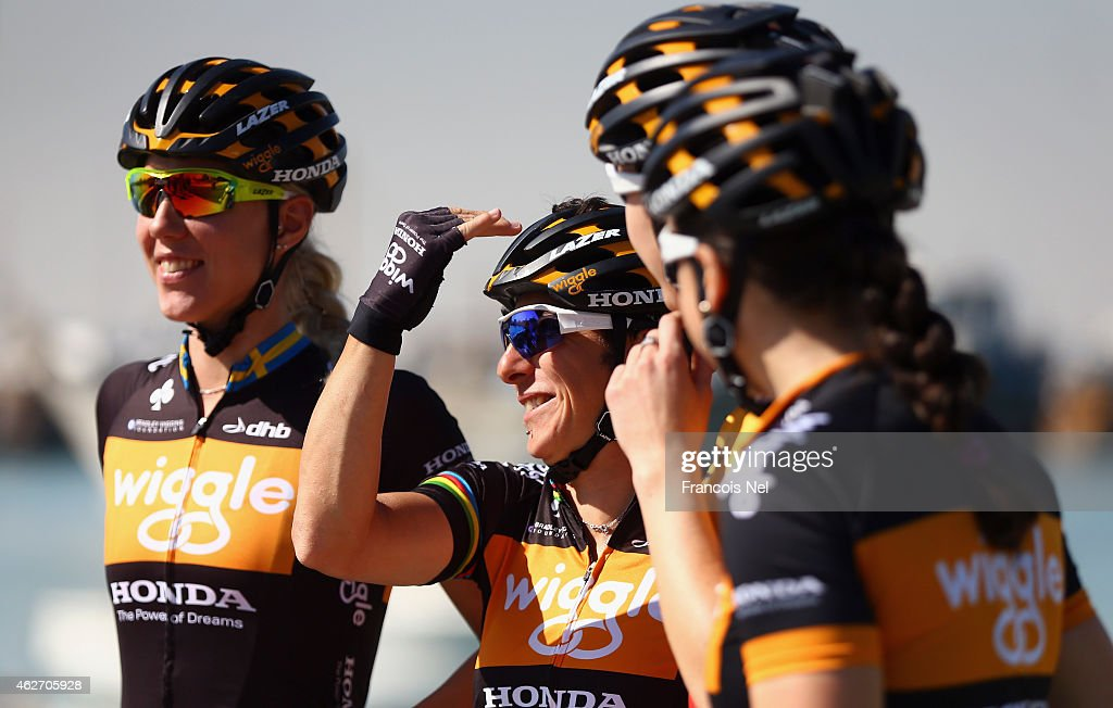 Giorgina Bronzini of Italy and Wiggle Honda share a light moment with teammates prior to the start of stage one of the 2015 Ladies Tour of Qatar from Museum of Islamic Art to Dukhan Beach on February 3, 2015 in Doha, Qatar.