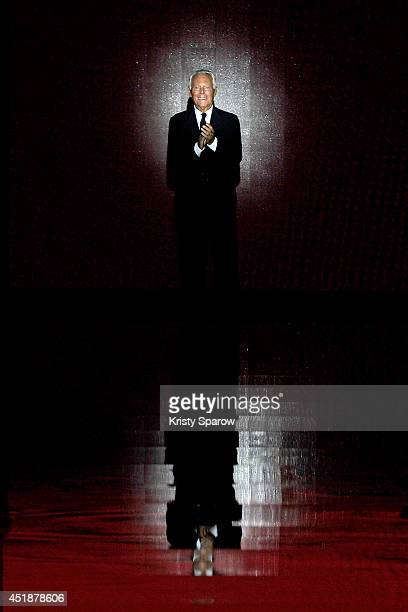 Giorgio Armani acknowledges the audience during the Giorgio Armani Prive show as part of Paris Fashion Week Haute Couture Fall/Winter 20142015 at...