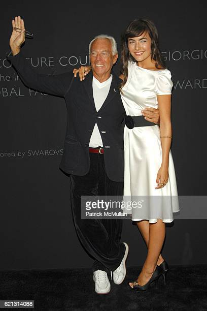 Giorgio Armani and Camille Bell attend Fashion Institute of Technology Presents the First Couture Council Award for Global Fashion Leadership to...