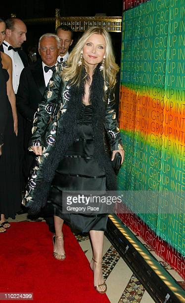 Giorgio Armani and Michelle Pfeiffer during The Fashion Group International's 21st Annual Night of Stars at Cipriani 42nd Street in New York City New...