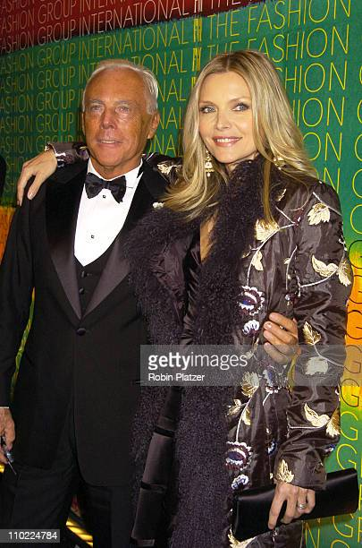 Giorgio Armani and Michelle Pfeiffer during The Fashion Group International's 21st Annual Night of Stars Outside Arrivals at Ciprianis in New York...