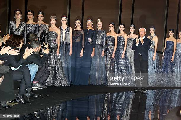 Giorgio Armani and models walk the runway during Giorgio Armani Prive show as part of Paris Fashion Week Haute Couture Spring/Summer 2014 on January...