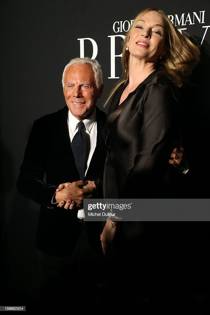 Giorgio Armani and <a gi-track='captionPersonalityLinkClicked' href=/galleries/search?phrase=Uma+Thurman&family=editorial&specificpeople=171973 ng-click='$event.stopPropagation()'>Uma Thurman</a> attend the Giorgio Armani Prive Spring/Summer 2013 Haute-Couture show as part of Paris Fashion Week at Theatre National de Chaillot on January 22, 2013 in Paris, France.