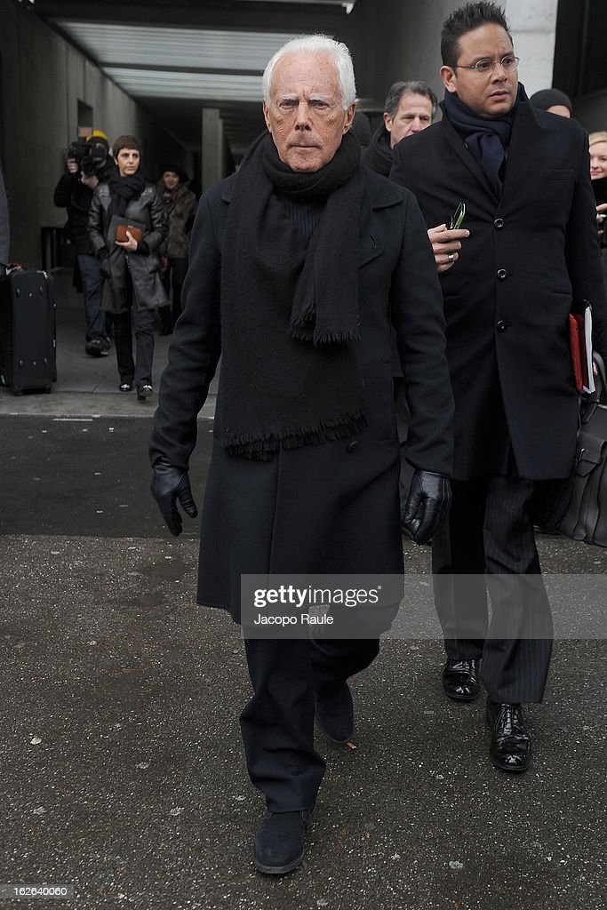 Giorgio Armani arrives at the Giorgio Armani fashion show as part of Milan Fashion Week Womenswear Fall/Winter 2013/14 on February 25, 2014 in Milan, Italy.