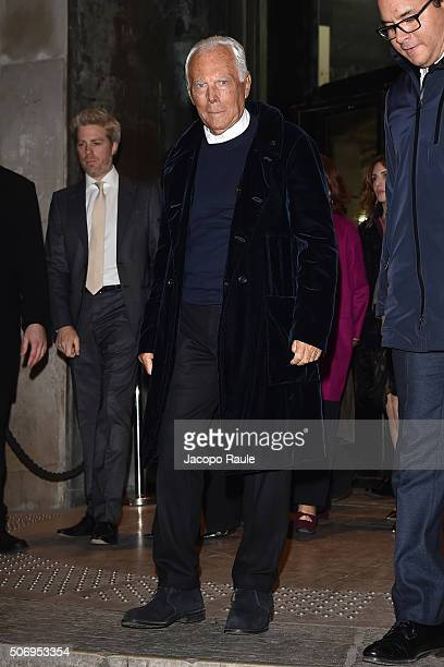 Giorgio Armani arrives at the Giorgio Armani Prive fashion show Paris Fashion Week Haute Coture Spring /Summer 2016 on January 26 2016 in Paris France