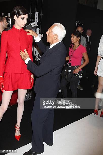 Giorgio Armani at Backstage at Giorgio Armani Prive show as part of Paris Fashion Week Haute Couture Fall/Winter 20142015 at Theatre National de...