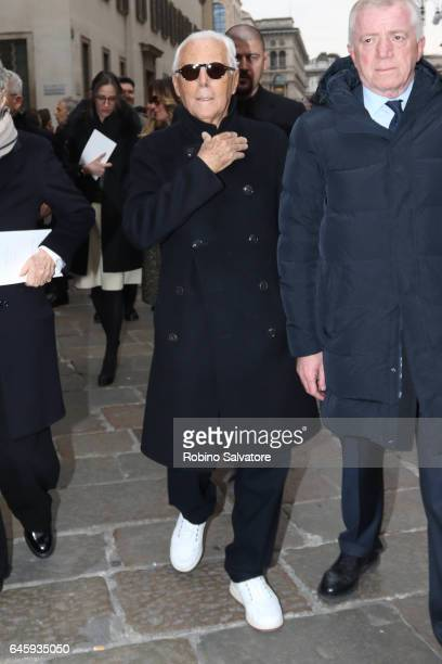 Giorgio Armani attends a public mass honouring Franca Sozzani at Duomo on February 27 2017 in Milan Italy