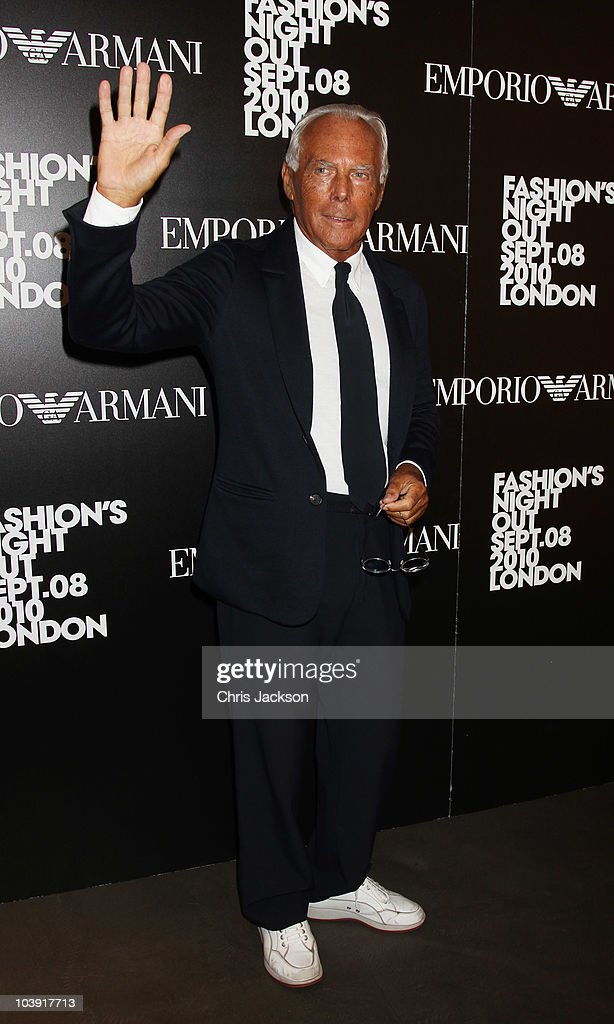 Giorgio Armani attends Fashion's Night Out At Armani on Bond Street on September 8 2010 in London England