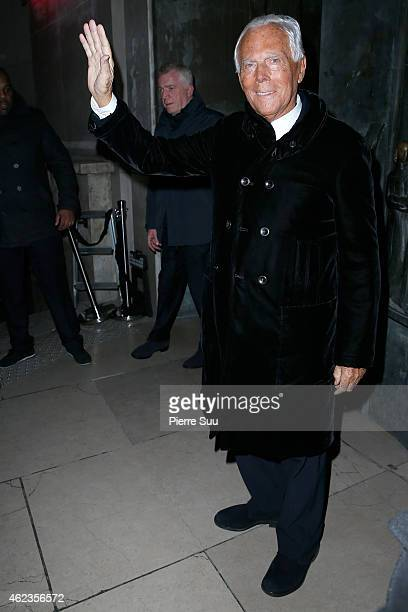 Giorgio Armani attends the Giorgio Armani Prive show as part of Paris Fashion Week Haute Couture Spring/Summer 2015 on January 27 2015 in Paris France