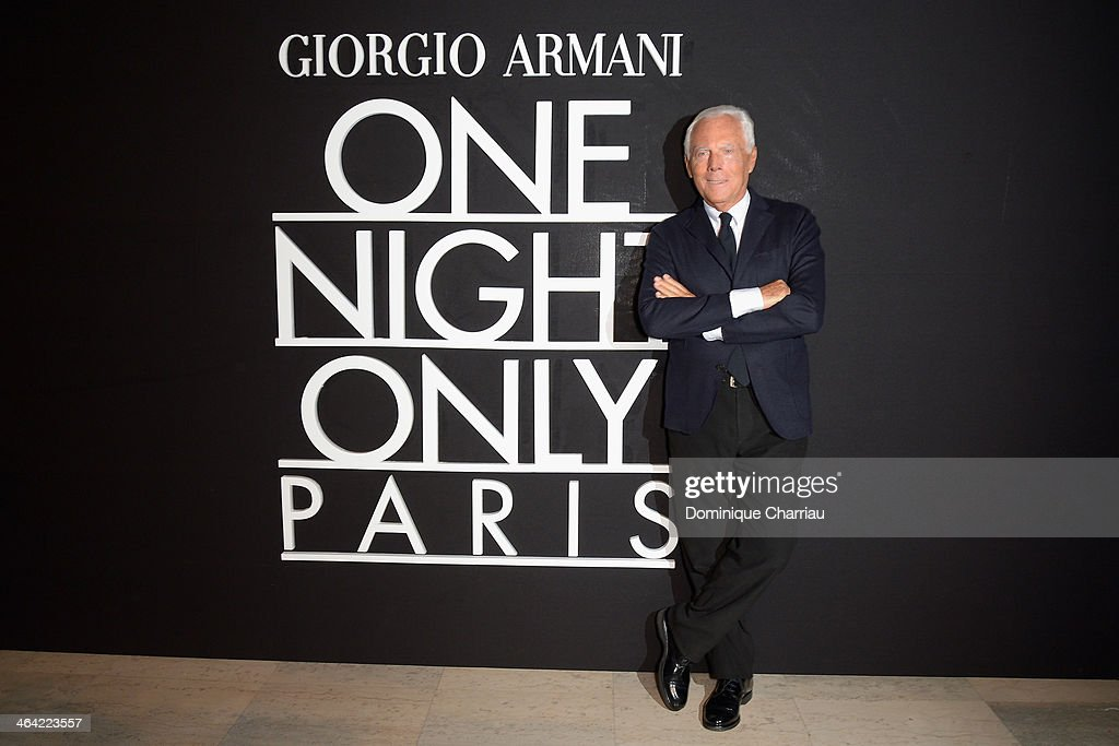 <a gi-track='captionPersonalityLinkClicked' href=/galleries/search?phrase=Giorgio+Armani&family=editorial&specificpeople=4155761 ng-click='$event.stopPropagation()'>Giorgio Armani</a> attends the <a gi-track='captionPersonalityLinkClicked' href=/galleries/search?phrase=Giorgio+Armani&family=editorial&specificpeople=4155761 ng-click='$event.stopPropagation()'>Giorgio Armani</a> Prive show as part of Paris Fashion Week Haute Couture Spring/Summer 2014 on January 21, 2014 in Paris, France.