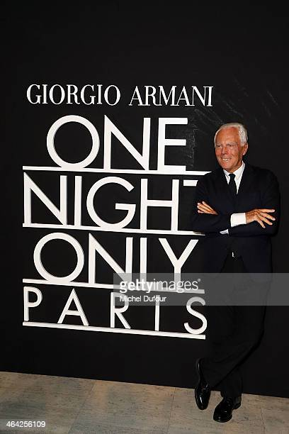 Giorgio Armani attends the Giorgio Armani Prive show as part of Paris Fashion Week Haute Couture Spring/Summer 2014 on January 21 2014 in Paris France