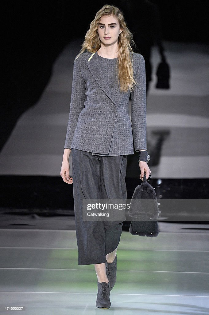 Giorgio Armani Autumn Winter 2014 fashion show during Milan Fashion Week on February 24, 2014 in Milan, Italy.