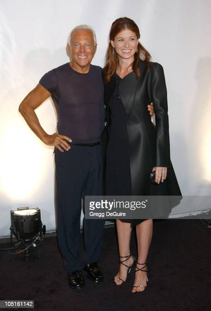 Giorgio Armani Debra Messing during Giorgio Armani Receives First 'Rodeo Drive Walk Of Style' Award at Rodeo Drive in Beverly Hills California United...