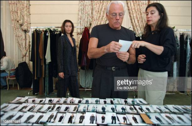 Giorgio Armani during the preparation of the fashion show in Place Saint Sulpice in Paris France in March 1998