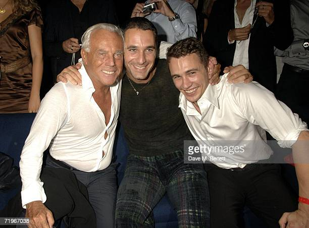 Giorgio Armani guest and James Franco attend the fashion show and party to celebrate the launch of Emporio Armani RED collection at Earls Court on...