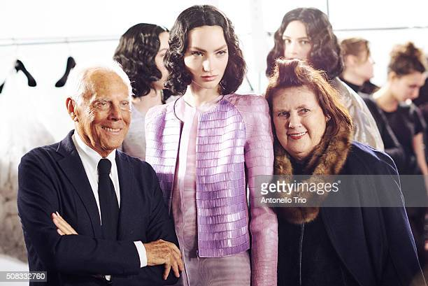 Giorgio Armani is seen on Backstage prior the Giorgio Armani Prive Spring Summer 2016 show as part of Paris Fashion Week on January 26 2016 in Paris...