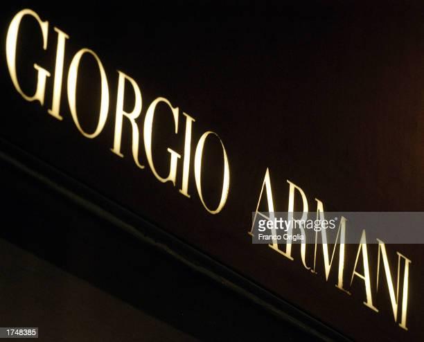 Giorgio Armani logo is shown on the store on Via Condotti January 27 2003 in Rome Italy