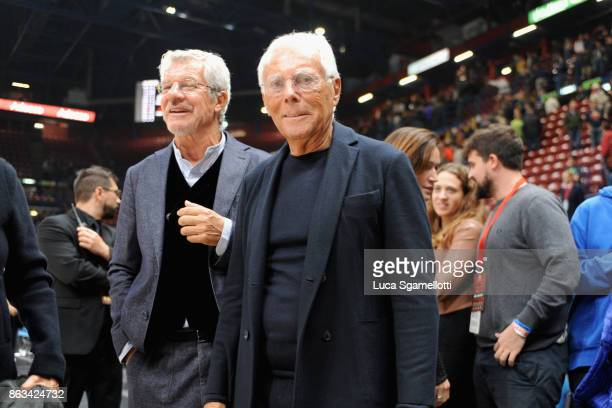 Giorgio Armani owner of AX Armani Exchange Olimpia Milan at the end of 2017/2018 Turkish Airlines EuroLeague Regular Season Round 2 game between AX...