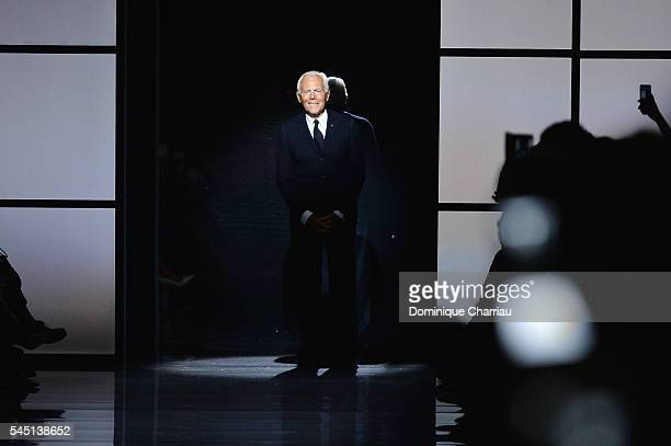 Giorgio Armani poses on the runway during the Giorgio Armani Prive Haute Couture Fall/Winter 20162017 show as part of Paris Fashion Week on July 5...