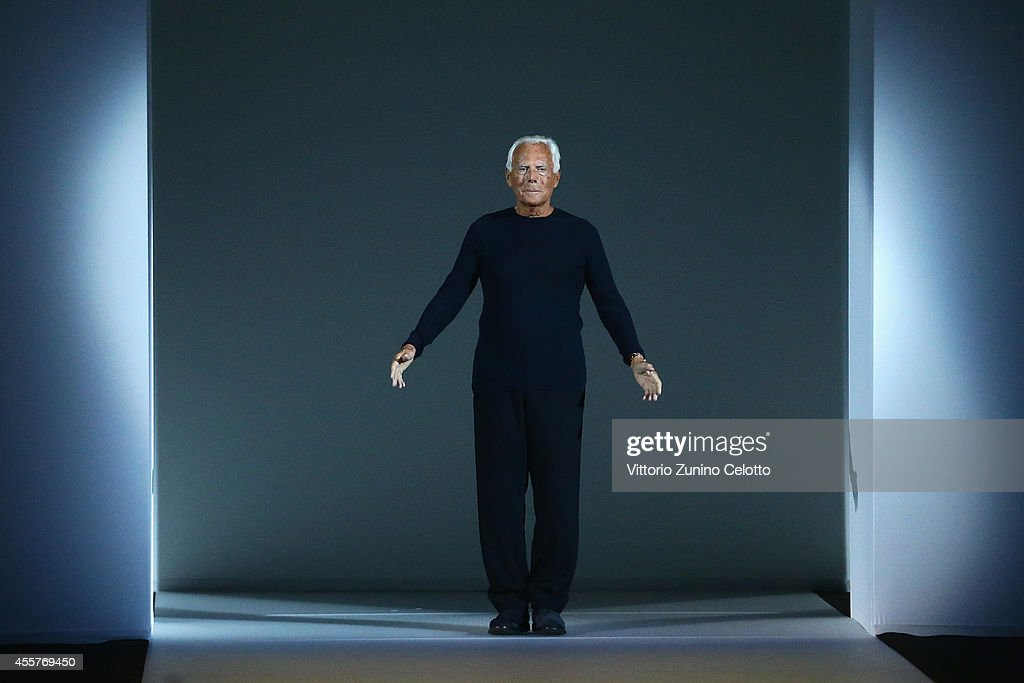 Giorgio Armani the runway during the Giorgio Armani Show as part of Milan Fashion Week Womenswear Spring/Summer 2015 on September 20 2014 in Milan...