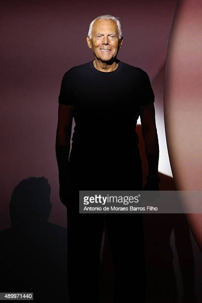 Giorgio Armani walks the runway during the Emporio Armani show as a part of Milan Fashion Week Spring/Summer 2016 on September 25 2015 in Milan Italy