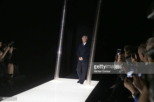 Giorgio Armani walks the runway during the Giorgio Armani Prive show as part of Paris Fashion Week Haute Couture Spring/Summer 2015 on January 27...
