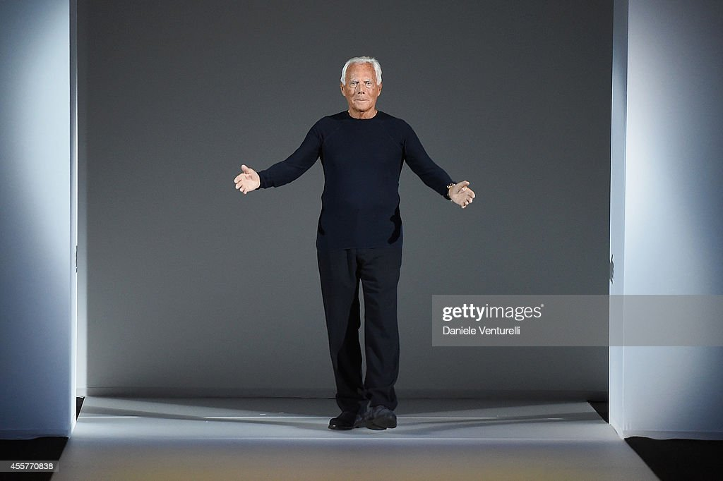 Giorgio Armani walks the runway during the Giorgio Armani Show as part of Milan Fashion Week Womenswear Spring/Summer 2015 on September 20 2014 in...
