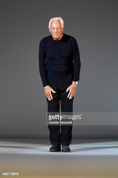 Giorgio Armani walks the runway during the Giorgio Armani Show as part of Milan Fashion Week Womenswear Spring/Summer 2015 on September 20 2014 in...