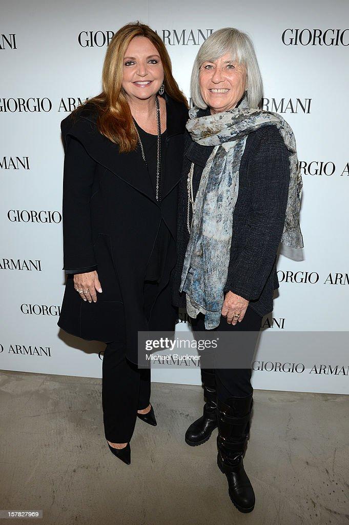 Giorgio Armani's Wanda McDaniel (L) and Ruth Bloom attend the Giorgio Armani Beauty Luncheon on December 6, 2012 in Beverly Hills, California.