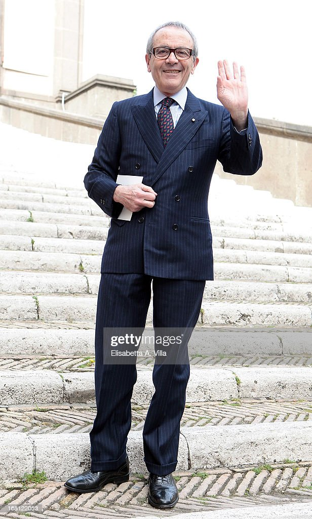 Giorgio Assumma arrives at the Valeria Marini and Giovanni Cottone wedding at Ara Coeli on May 5, 2013 in Rome, Italy.
