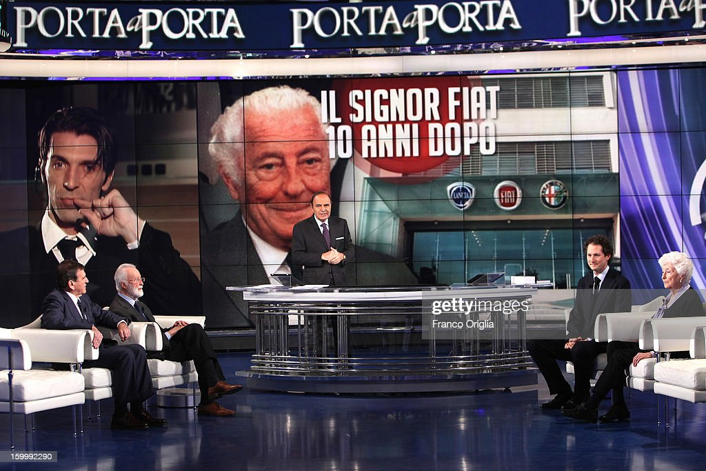 Giorgio Benvenuto, Enrico Scalfari, TV conductor Bruno Vespa, Fiat Chairman John Elkann, Maria Sole Agnelli attend 'Porta A Porta' Italian TV Show dedicated to Giovanni Agnelli on January 24, 2013 in Rome, Italy. Today President of Italian Republic Giorgio Napolitano remembered after 10 years the death of Gianni Agnelli - President and principal shareholder of Fiat Group at the Cathedral of Torino.
