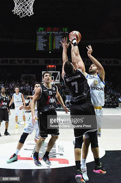 Giorgio Boscagin of Tezenis competes with Andrea Michelori and Gabriele Spizzichini of Segafredo during the match of LNP LegaBasket Serie A2 between...