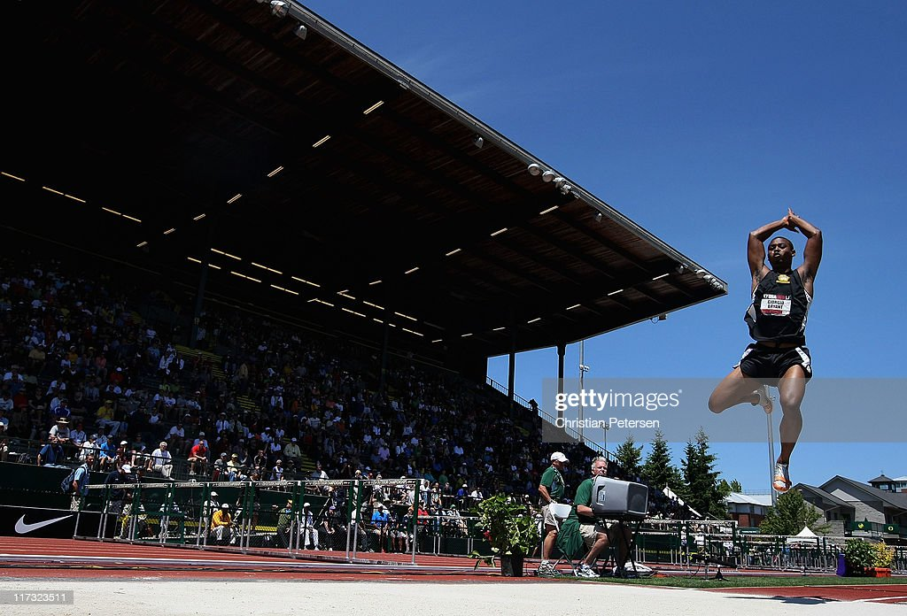 Giorgio Bryant competes in the Men's long jump on day three of the USA Outdoor Track & Field Championships at the Hayward Field on June 25, 2011 in Eugene, Oregon.